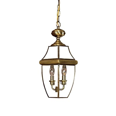 Quoizel NY1179A Incandescent Hanging Lantern, Antique Brass