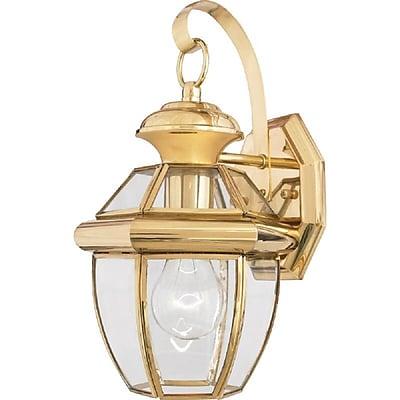 Quoizel NY8315B Incandescent Wall Lantern, Polished Brass