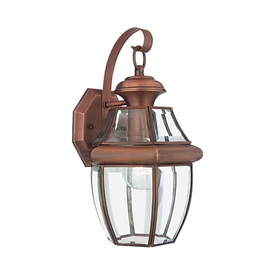 Quoizel NY8316AC Incandescent Wall Lantern, Aged Copper