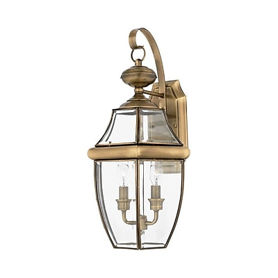 Quoizel NY8317A Incandescent Wall Lantern, Antique Brass