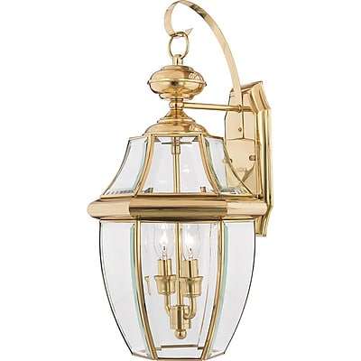 Quoizel NY8317B Incandescent Wall Lantern, Polished Brass
