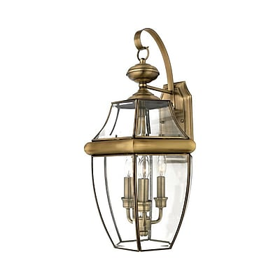 Quoizel NY8318A Incandescent Wall Lantern, Antique Brass