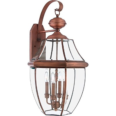 Quoizel NY8339AC Incandescent Wall Lantern, Aged Copper