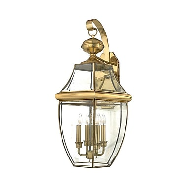 Quoizel NY8339B Incandescent Wall Lantern, Polished Brass