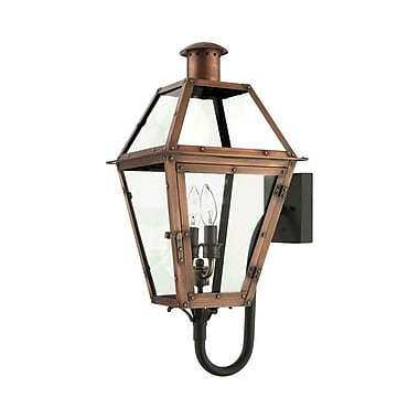Quoizel RO8311AC Incandescent Wall Lantern, Aged Copper