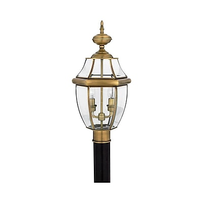 Quoizel NY9042A Incandescent Post Lantern, Antique Brass