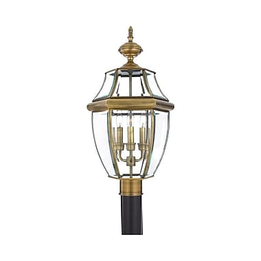 Quoizel NY9043A Incandescent Post Lantern, Antique Brass