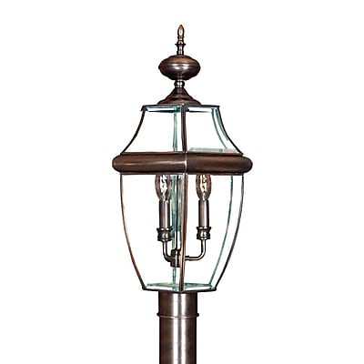 Quoizel NY9043AC Incandescent Post Lantern, Aged Copper