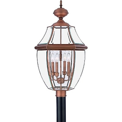 Quoizel NY9045AC Incandescent Post Lantern, Aged Copper