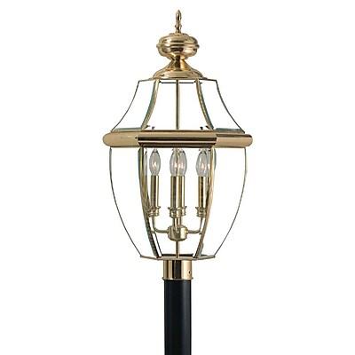 Quoizel NY9045B Incandescent Post Lantern, Polished Brass