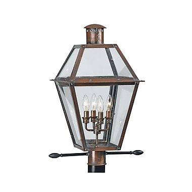 Quoizel RO9014AC Incandescent Post Lantern, Aged Copper