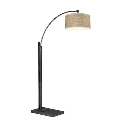 Quoizel Q4572A Incandescent Black Floor Lamp, Rattan Shade