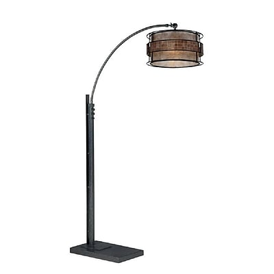 Quoizel Q4574A Incandescent Black Floor Lamp, Mosaic Tile Mica Shade