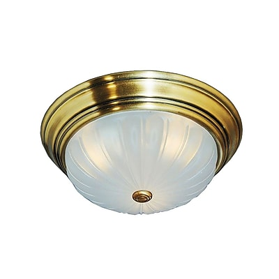 Quoizel ML183A Incandescent Flush Mount, Antique Brass