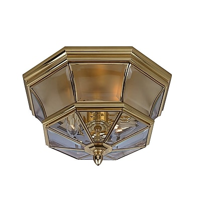 Quoizel NY1794B Incandescent Flush Mount, Polished Brass