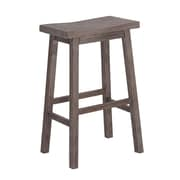"Boraam 29"" Sonoma Solid Hardwood Saddle Stool, Gray Wire-Brush"