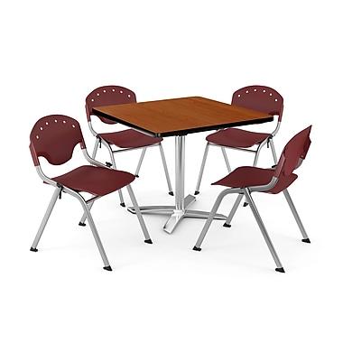 OFM – Table carrée et polyvalente de 36 po en stratifié cerisier avec 4 chaises bourgognes PKG-BRK-019-0003 (845123046050)