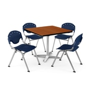 "OFM PKG-BRK-020-0005 42"" Square Laminate Multi-Purpose Table with 4 Chairs, Cherry Table/Navy Chair"