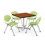 "OFM PKG-BRK-020-0006 42"" Square Laminate Multi-Purpose Table with 4 Chairs, Cherry Table/Lime Green Chair"
