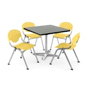 "OFM PKG-BRK-020-0010 42"" Square Laminate Multi-Purpose Table with 4 Chairs, Gray Nebula Table/Lemon Yellow Chair"