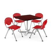 """OFM PKG-BRK-020-0014 42"""" Square Laminate Multi-Purpose Table with 4 Chairs, Mahogany Table/Red Chair"""