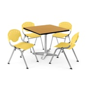 """OFM PKG-BRK-020-0022 42"""" Square Laminate Multi-Purpose Table with 4 Chairs, Oak Table/Lemon Yellow Chair"""