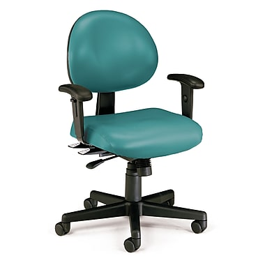 OFM 24 Hour Intensive Use Task Chair with Adjustable Arms and Anti-Microbial Anti-Bacterial Vinyl, Teal (845123012383)