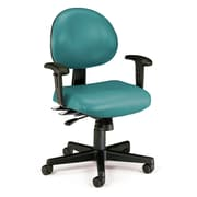 OFM 24 Hour Intensive Use Task Chair with Adjustable Arms, Teal Anti-Microbial Anti-Bacterial Vinyl