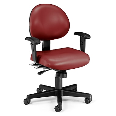OFM 24 Hour Intensive Use Task Chair with Adjustable Arms and Anti-Microbial Anti-Bacterial Vinyl, Wine (845123012390)