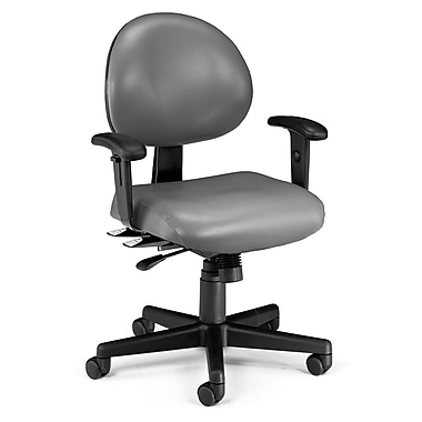 OFM 24 Hour Intensive Use Task Chair with Adjustable Arms and Anti-Microbial Anti-Bacterial Vinyl, Charcoal Gray (845123012406)