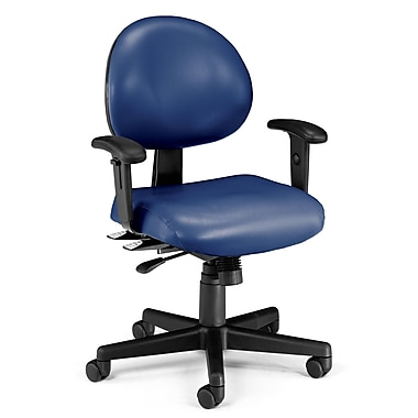 OFM 24 Hour Intensive Use Task Chair with Adjustable Arms and Anti-Microbial Anti-Bacterial Vinyl, Navy (845123012413)