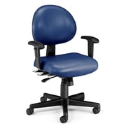 OFM 24 Hour Intensive Use Task Chair with Adjustable Arms, Navy Anti-Microbial Anti-Bacterial Vinyl (241-VAM-AA-605)