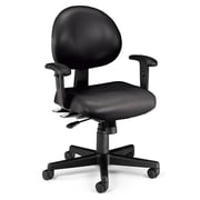 OFM 24 Hour Intensive Use Task Chair with Adjustable Arms, Black Anti-Microbial Anti-Bacterial Vinyl
