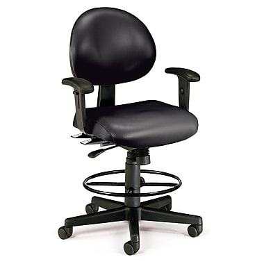 OFM - Chaise d'ordinateur et de bureau en tissu, accoudoirs fixes, noir (845123012505)