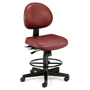 OFM 24 Hour Ergonomic Armless Task Chair with Drafting Kit, Antimicrobial Vinyl, Mid Back, Wine (241-VAM-DK-603)