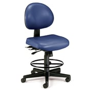 OFM 24 Hour Ergonomic Armless Task Chair with Drafting Kit, Antimicrobial Vinyl, Mid Back, Navy (241-VAM-DK-605)