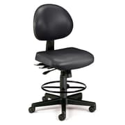 OFM 24 Hour Ergonomic Armless Task Chair with Drafting Kit, Antimicrobial Vinyl, Mid Back, Black (241-VAM-DK-606)