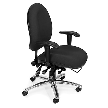 OFM Fabric Computer and Desk Office Chair, Adjustable Arms, Black (845123031377)