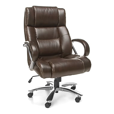 OFM Avenger Leather Executive Office Chair, Fixed Arms, Brown (845123051849)