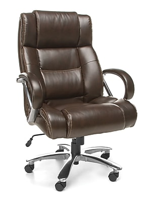OFM Avenger Series Big and Tall Executive High Back Chair, Leather, Brown, (810-LX-BRN)