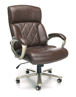 OFM Avenger Series Leather High-Back Big and Tall Executive Chair, Brown with Champagne Finish, (812-LX-BRN)
