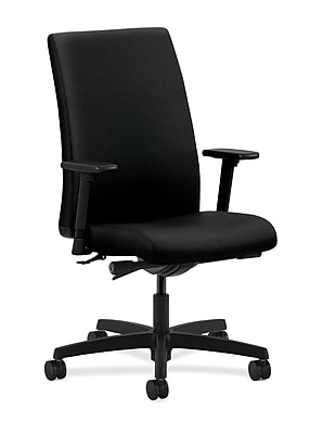 HON Ignition Fabric Computer and Desk Office Chair, Adjustable Arms, Black (HONIW114CU10)