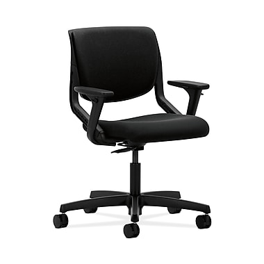HON Motivate Fabric Computer and Desk Office Chair, Adjustable Arms, Black/Onyx (HONMT102AB10)