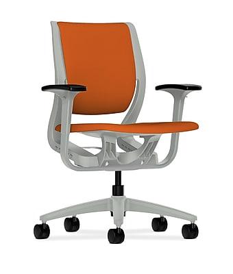 HON Purpose Fabric Computer and Desk Office Chair, Adjustable Arms, Tangerine/Platinum (HONRW101PTCU46)