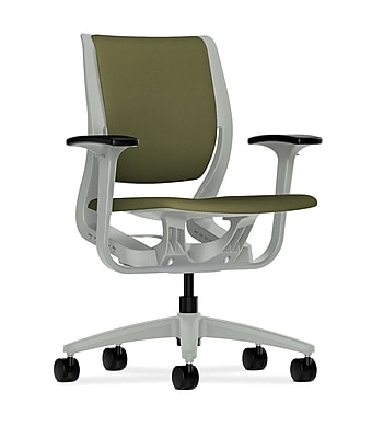 HON Purpose Fabric Computer and Desk Office Chair, Adjustable Arms, Olivine/Platinum (HONRW101PTCU82)