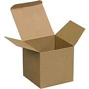 "4"" x 4"" x 4"" Reverse Tuck Folding Cartons, Brown, 250/ Carton (RTC61)"