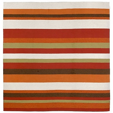 Liora Manne Ravella Stripe Orange Area Rug; Square 8'