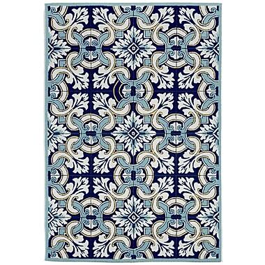 Liora Manne Ravella Floral Tile Blue Area Rug; 5' x 7'6''