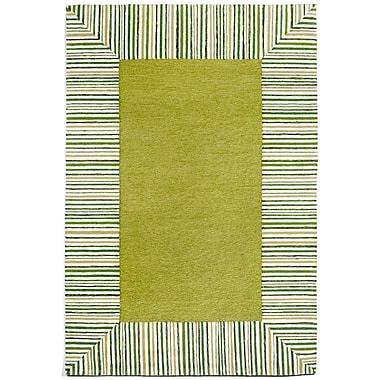 Liora Manne Ravella Pinstripe Border Green Area Rug; 3'6'' x 5'6''