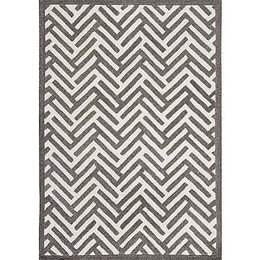 Hokku Designs Tracks Grey & Ivory Area Rug; 4'6'' x 6'6''